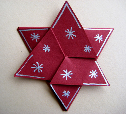 Cartes de voeux d cor es d 39 toiles origami no l faciles faire noel pinterest origami for Pliage serviette de noel facile