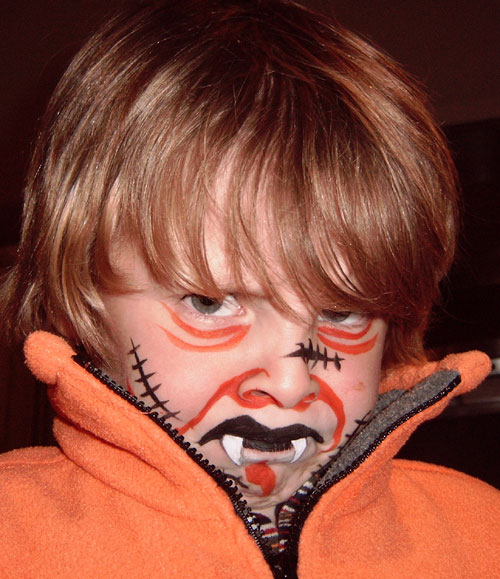 hallowween, maquillage, enfant