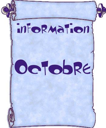Actualités du mois d'octobre