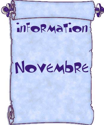 Actualités du mois de novembre