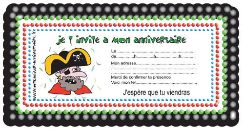 Carte d'invitation anniversaire pirate